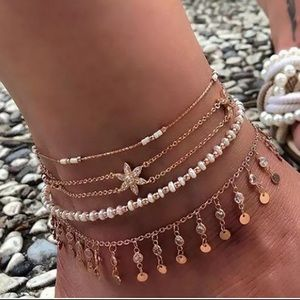 Layered Gold Shell Pendant Ankle Bracelet Jewelry